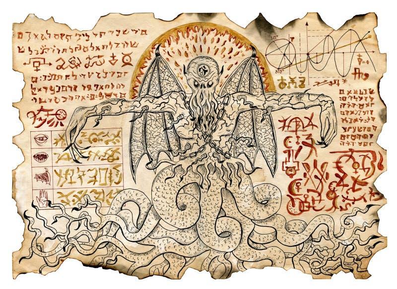 Pergaminho velho com os desenhos místicos com símbolos maus do demônio e da magia negra ilustração do vetor