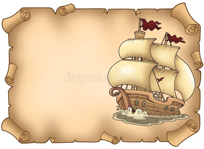 Pergamino con el barco de vela viejo ilustración del vector