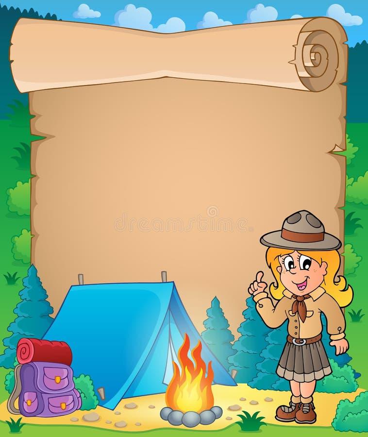 Pergamino con el consejo de la muchacha del explorador stock de ilustración