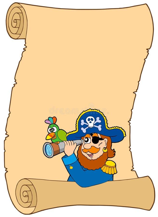 Pergamino con el pirata y el catalejo stock de ilustración