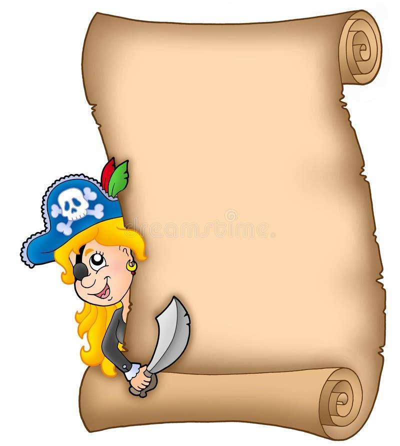 Pergamino con la muchacha del pirata que está al acecho ilustración del vector