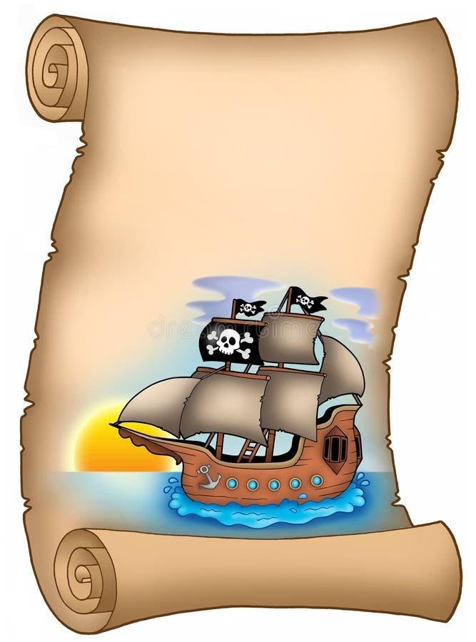 Pergamino con la nave de pirata stock de ilustración