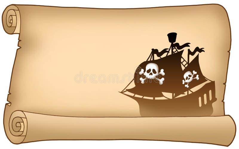 Pergamino con la silueta de la nave de pirata libre illustration