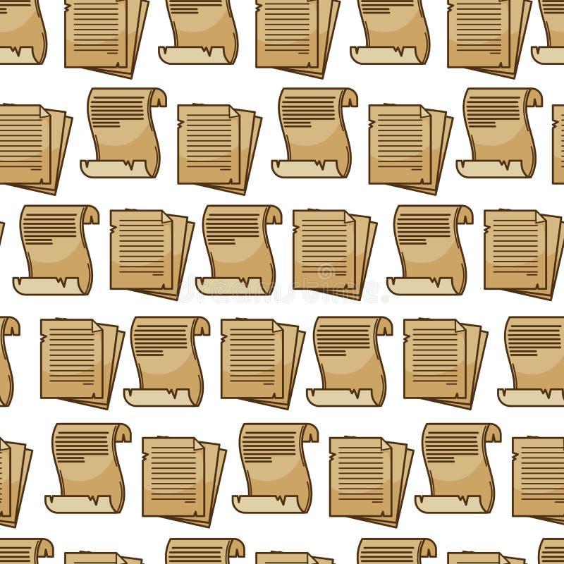 Pergamino de la hoja o manuscrito de papel viejo de la voluta del papiro stock de ilustración