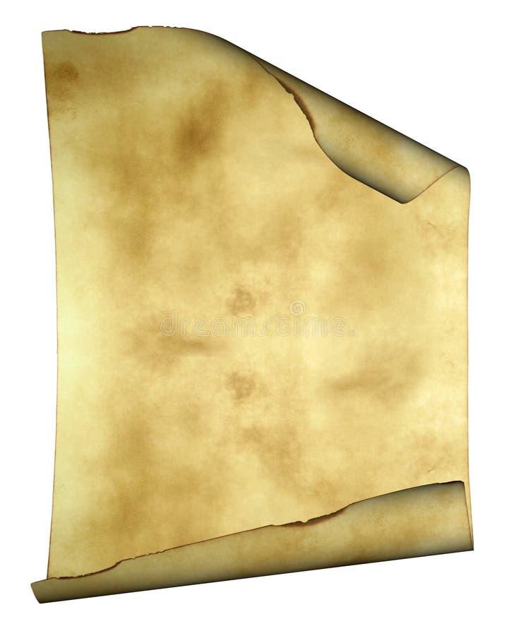 Pergamino de papel viejo del fondo con los bordes quemados ilustración del vector