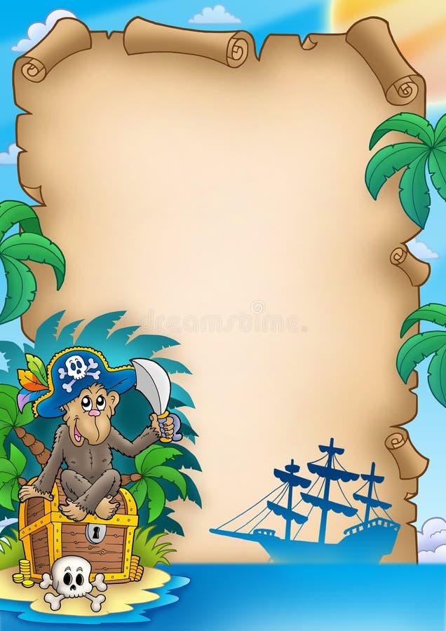 Pergamino del pirata con el mono ilustración del vector