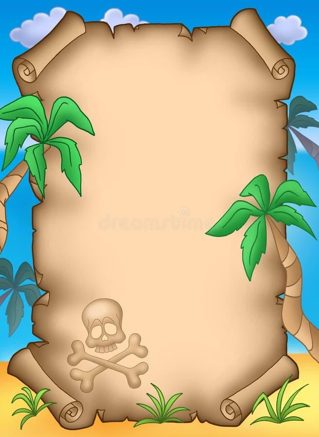Pergamino del pirata con las palmas stock de ilustración