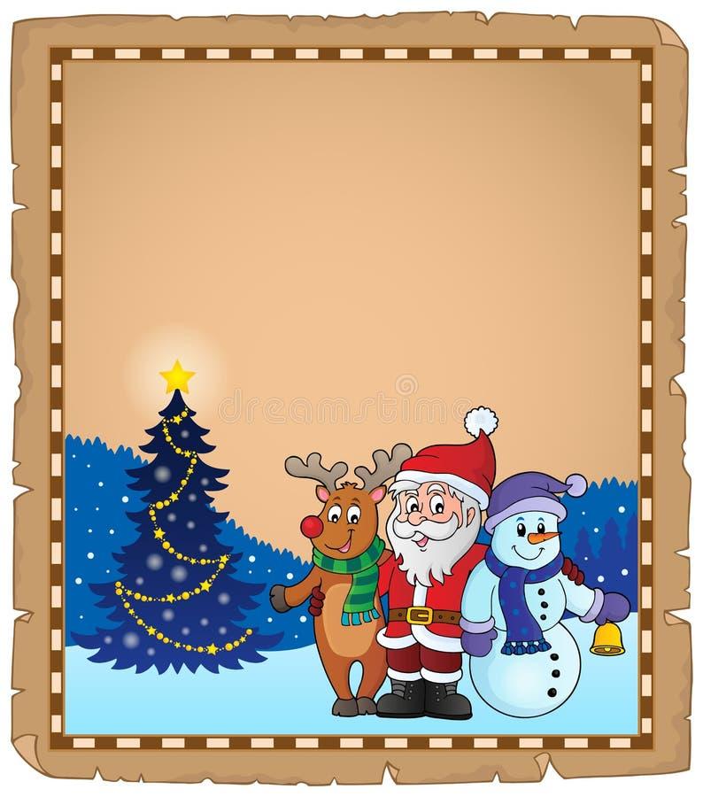 Pergamino 2 del tema de los caracteres de la Navidad stock de ilustración