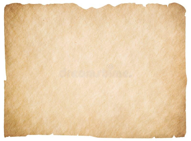Pergamino o papel en blanco viejo aislado La trayectoria de recortes es incluida