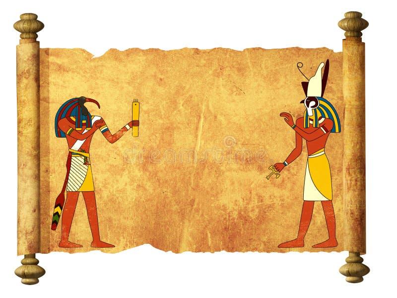 Pergamino viejo con las imágenes egipcias Toth y Horus de dioses stock de ilustración