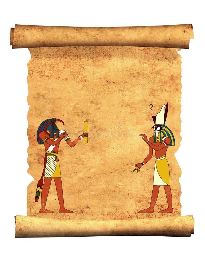 Pergamino viejo con las imágenes egipcias Toth y Horus de dioses ilustración del vector