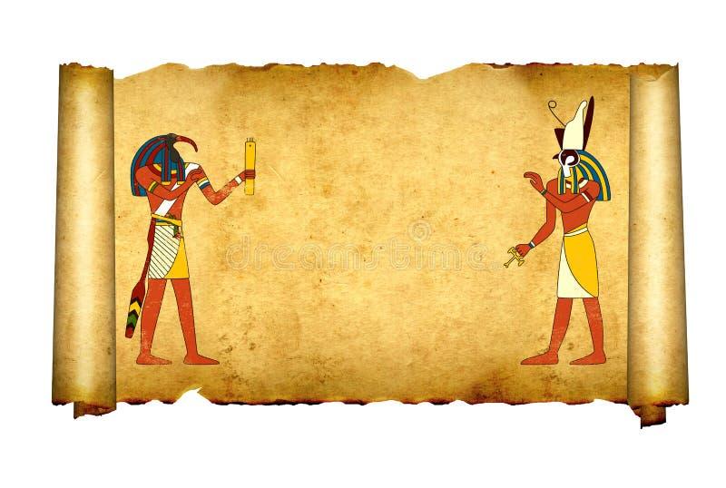 Pergamino viejo con las imágenes egipcias Toth y Horus de dioses libre illustration