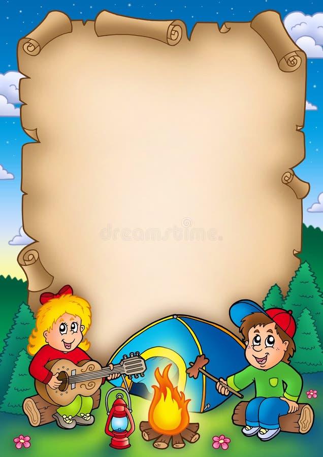 Pergamino viejo con los cabritos que acampan libre illustration
