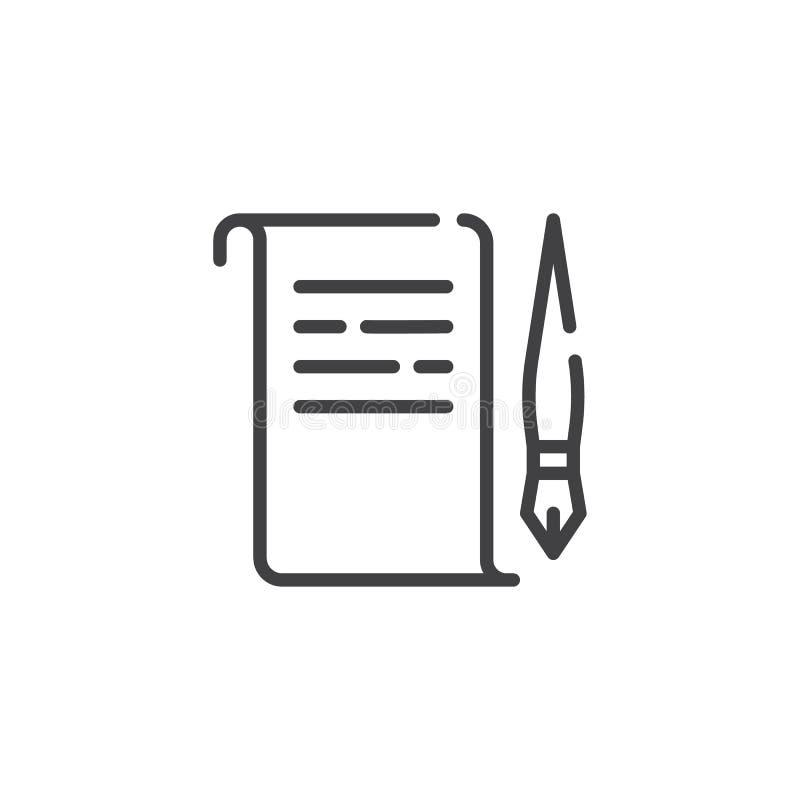 Pergaminowy papier i dutki linii ikona ilustracja wektor
