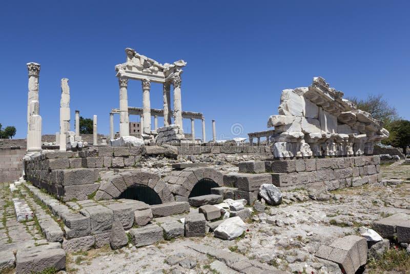 Pergamon Acropolis. Turkey. The ruins of the temple of Trajan. stock photo