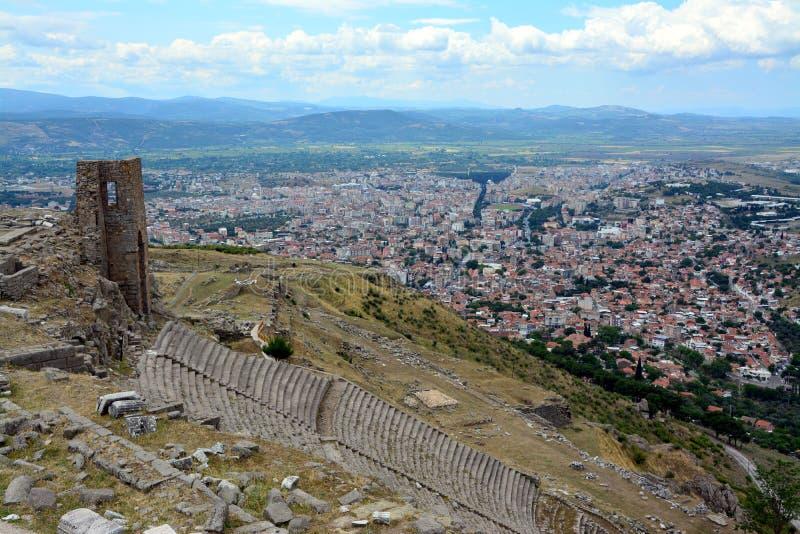 Pergamon forntida stad i Izmir Turkiet arkivfoton