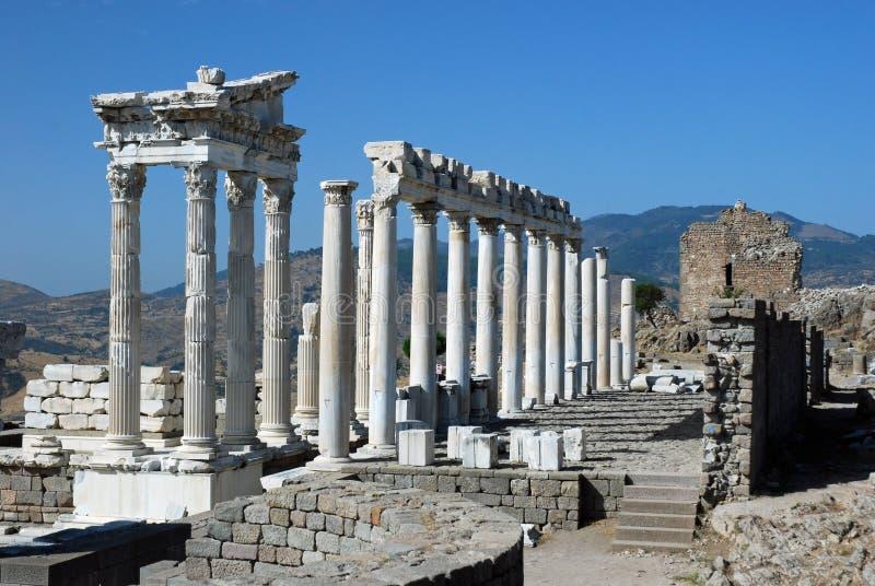 Pergamon - Temple of Trajan - Acropolis. Pergamon - Pergamum - Acropolis with Temple of Trajan - Reconstructed - Turkey royalty free stock images