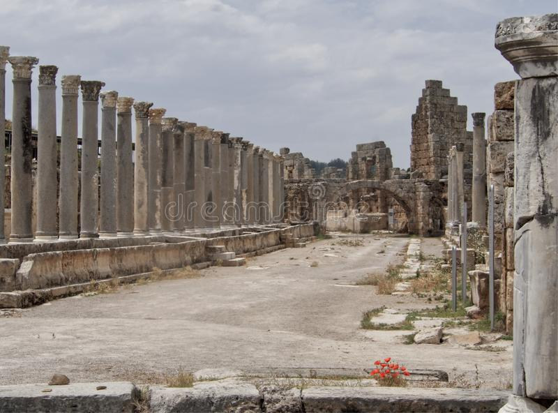 Perge w Antalya, utrzymane archeological ruiny w Turcja obraz royalty free