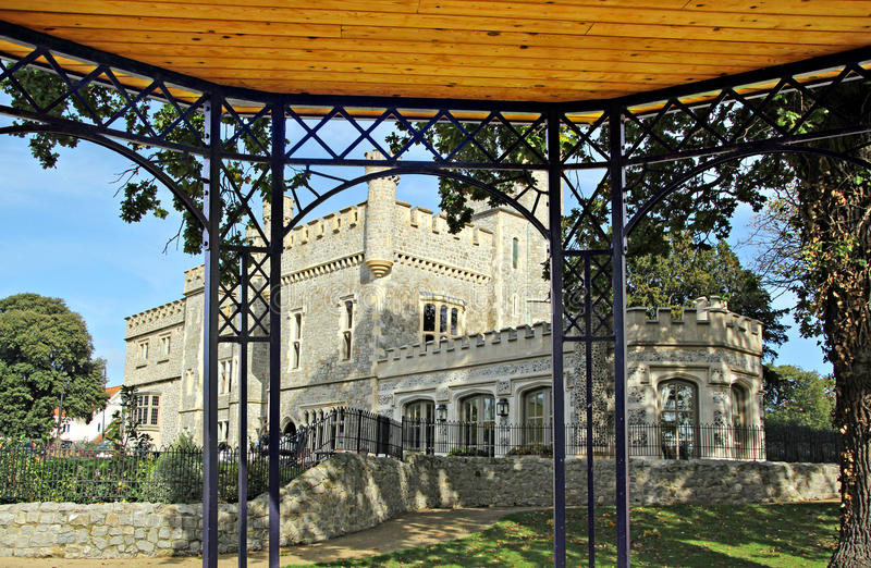Pergola castle view. Photo of whitstable castle in kent showing newly refurbished orangery taken from pergola bandstand view stock photography