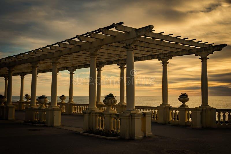 Pergola da Foz under solnedgången royaltyfri foto
