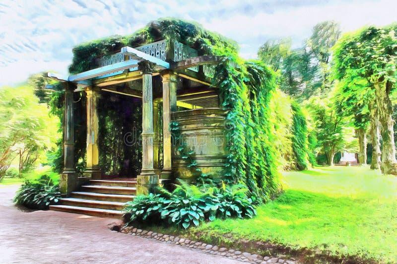 Pergola di Trelyazhnaya un supporto conico nel giardino di Ekaterine illustrazione di stock