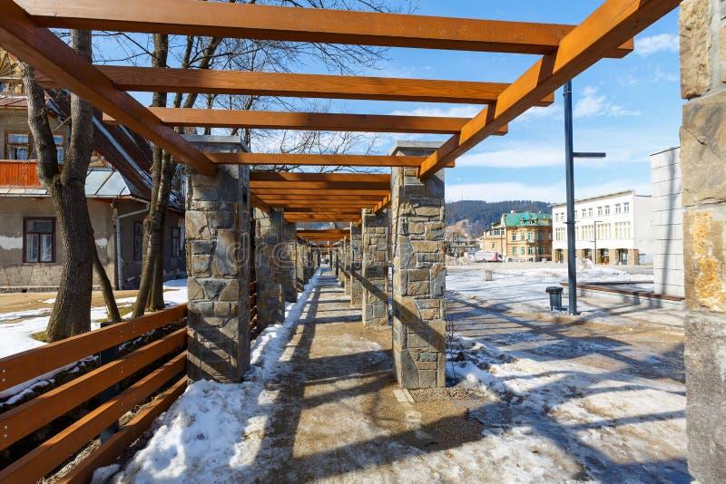 Pergola van steen in Zakopane wordt gemaakt die royalty-vrije stock foto's