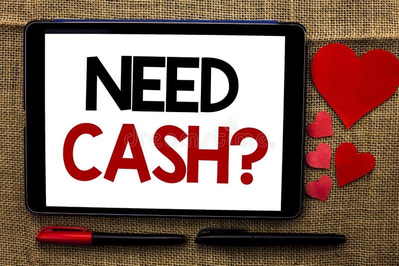 Pergunta do dinheiro da necessidade da escrita do texto da escrita Conceptual carente do conselho do dinheiro da moeda da pergunt imagens de stock