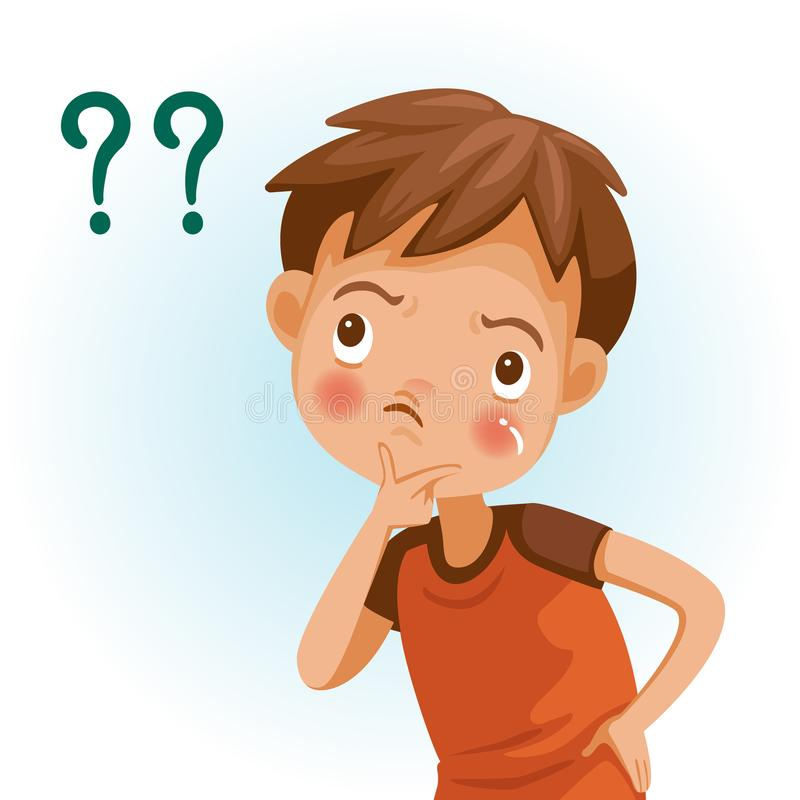 Pergunta do menino ilustração do vetor