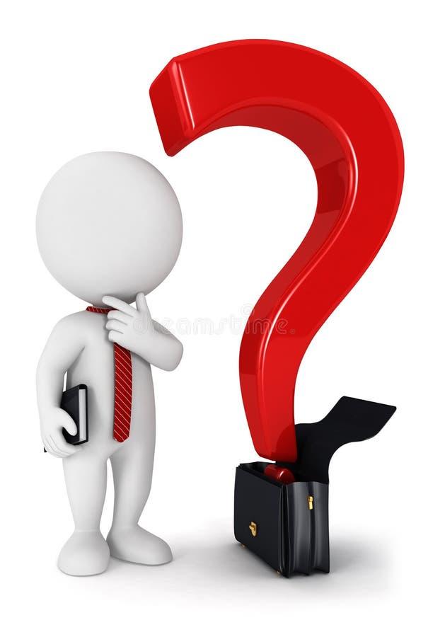 pergunta do negócio dos povos 3d brancos ilustração do vetor