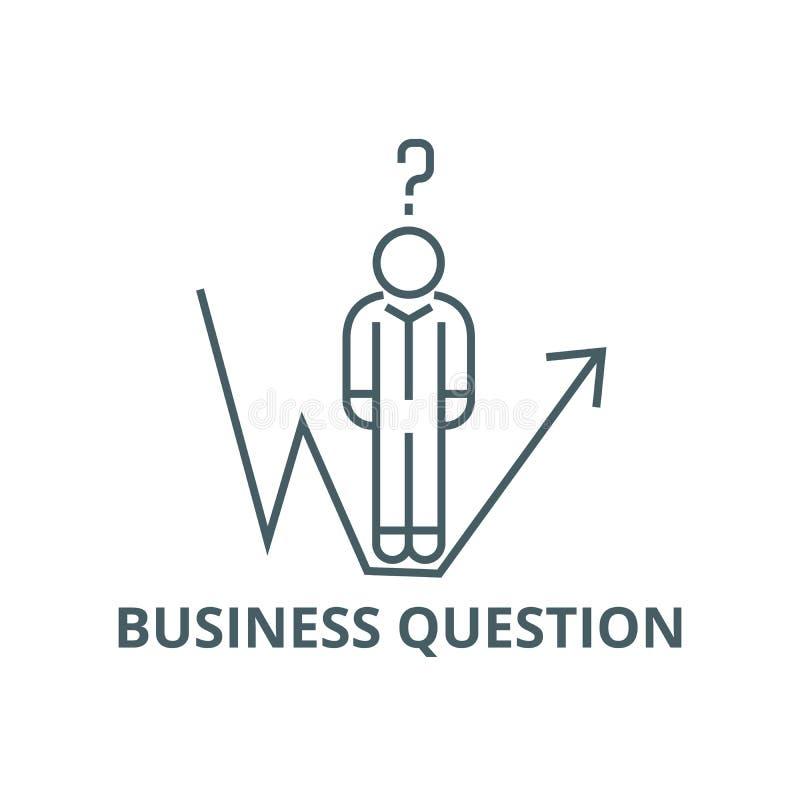 Pergunta do negócio, linha linha ícone do crescimento do homem de negócios, vetor Pergunta do negócio, linha sinal do crescimento ilustração royalty free