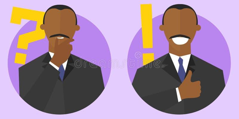 Pergunta grande e os melhores sinais do conceito da solução Estilo liso dos desenhos animados Pensando, homem negro duvidoso Home ilustração stock