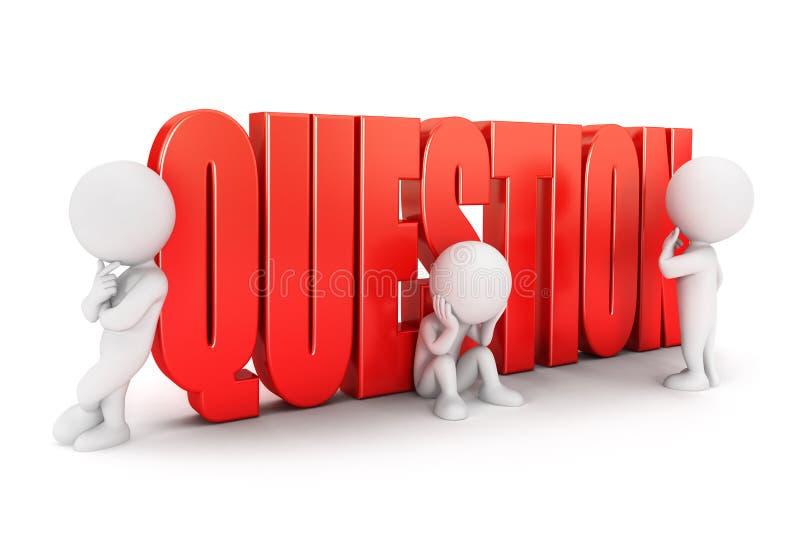 pergunta importante dos povos 3d brancos ilustração do vetor