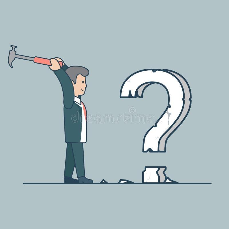 Pergunta lisa linear do vetor do hummer do homem de negócio ilustração royalty free