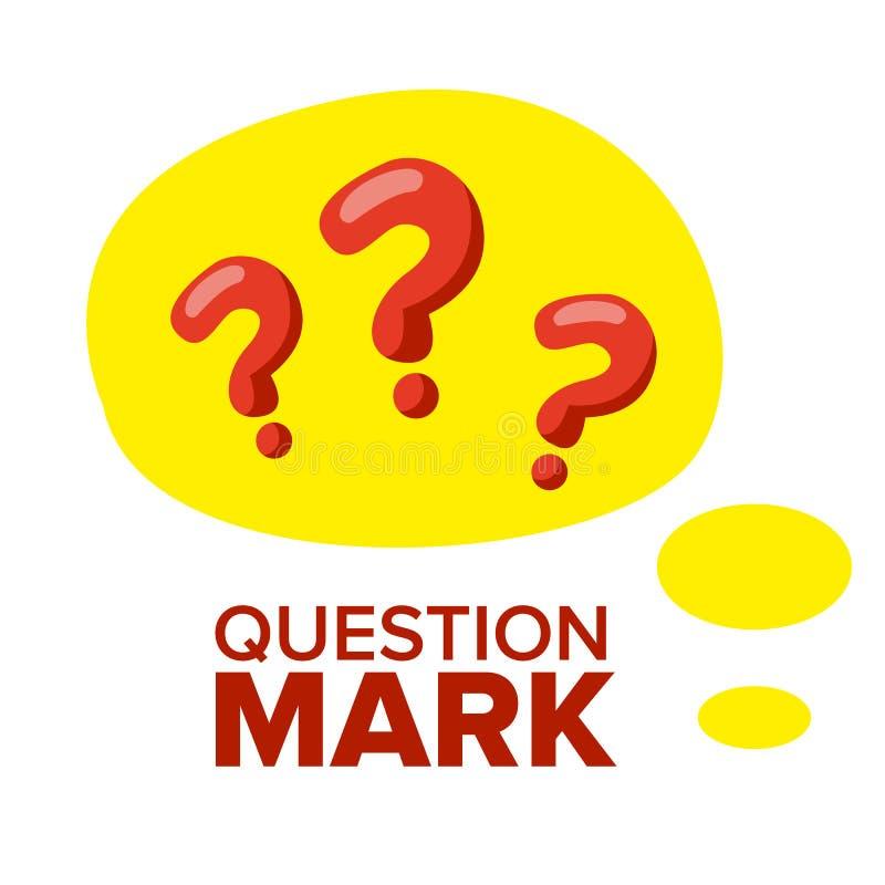 Pergunta Mark Sign Icon Vetora Conceito de pensamento Encontre a ideia, solução Ilustração lisa isolada dos desenhos animados ilustração stock