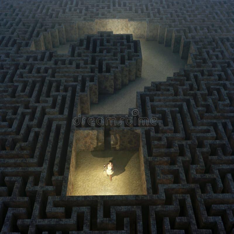 Pergunta no labirinto ilustração royalty free