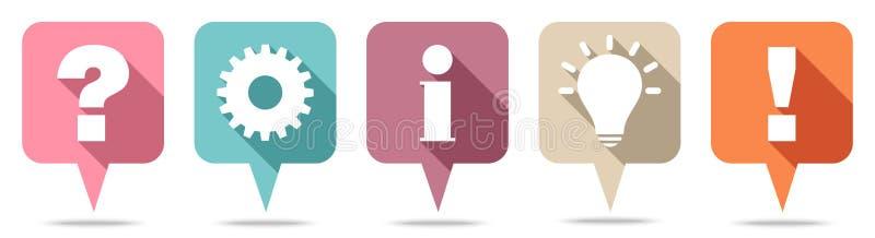 Pergunta, trabalho, informação, ideia & resposta de Speechbubbles retros ilustração do vetor