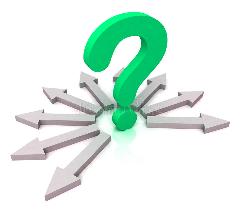 A pergunta verde circunvizinha das setas mostra a escolha ilustração stock