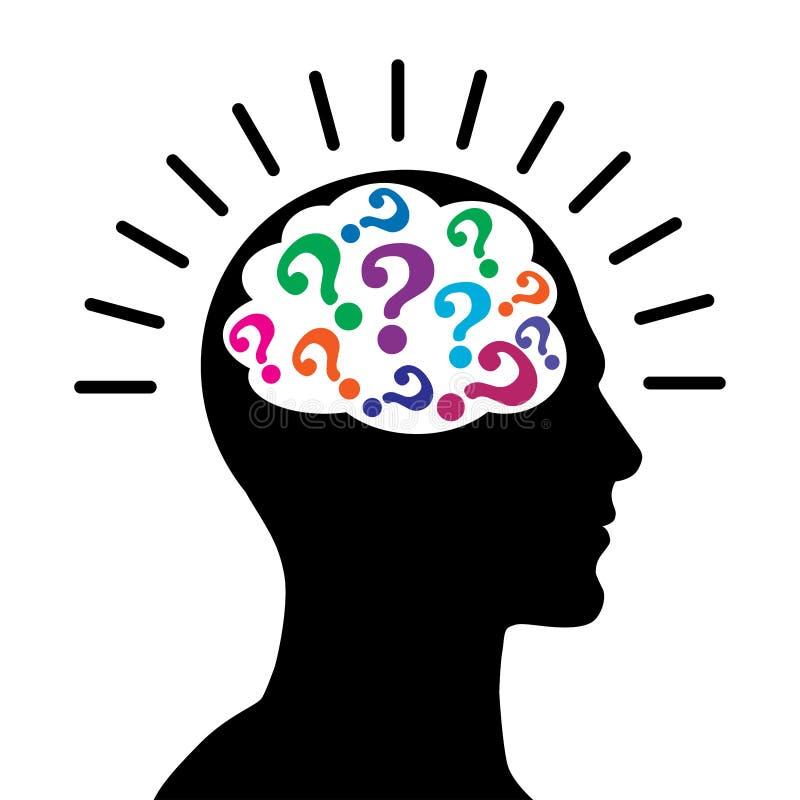 Perguntas da mente com o cérebro principal masculino ilustração stock