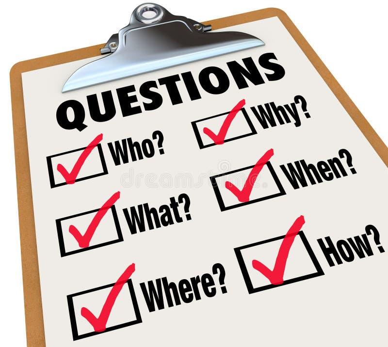 Perguntas da pesquisa da prancheta da avaliação que que onde quando porque como ilustração stock