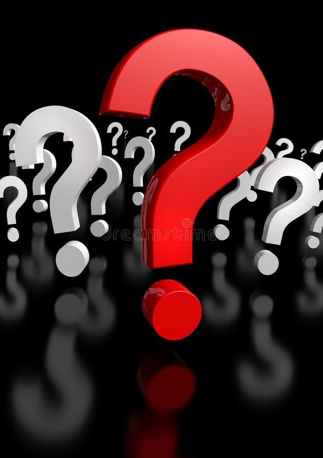 Perguntas demais, somente um vermelho! rendição 3d ilustração do vetor
