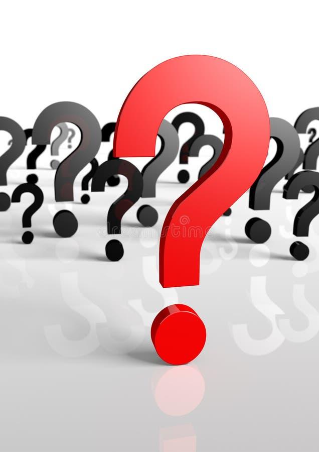 Perguntas demais, somente um vermelho! rendição 3d! Em ilustração royalty free