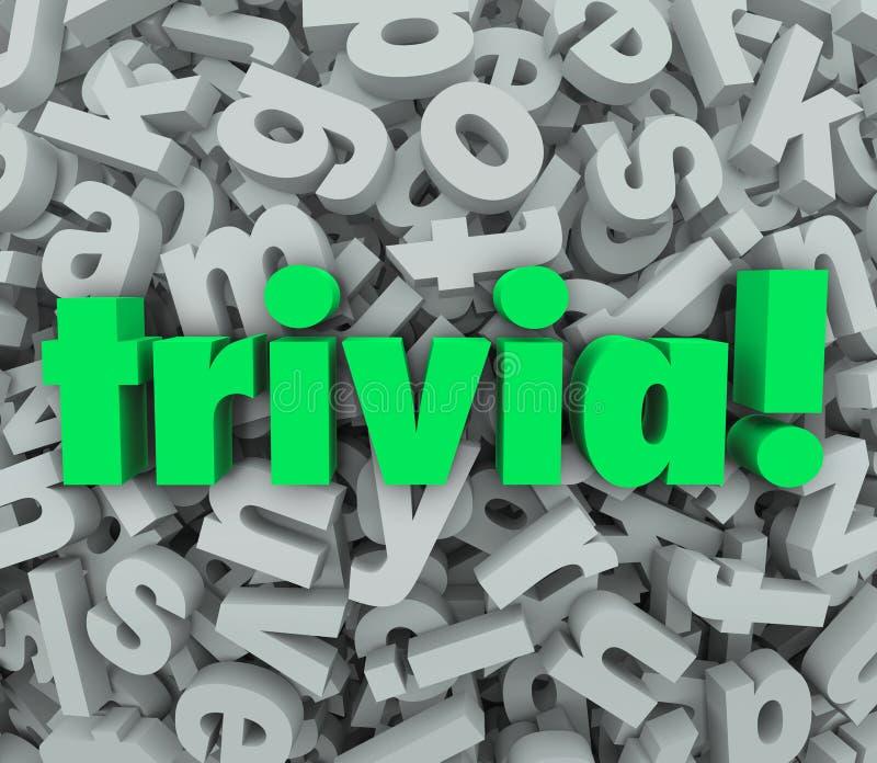 Perguntas do jogo do questionário do fundo da letra da palavra 3D da trivialidade ilustração royalty free