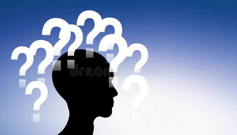 Perguntas em torno de uma cabeça ilustração stock