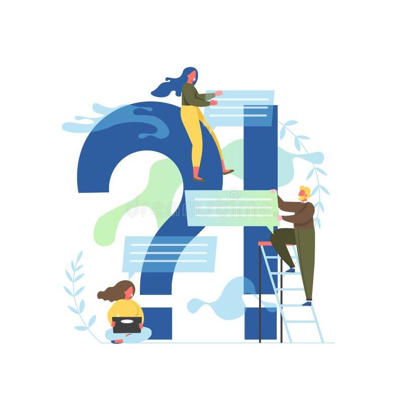 Perguntas frequentemente feitas, ilustra??o lisa do projeto do estilo do vetor ilustração stock
