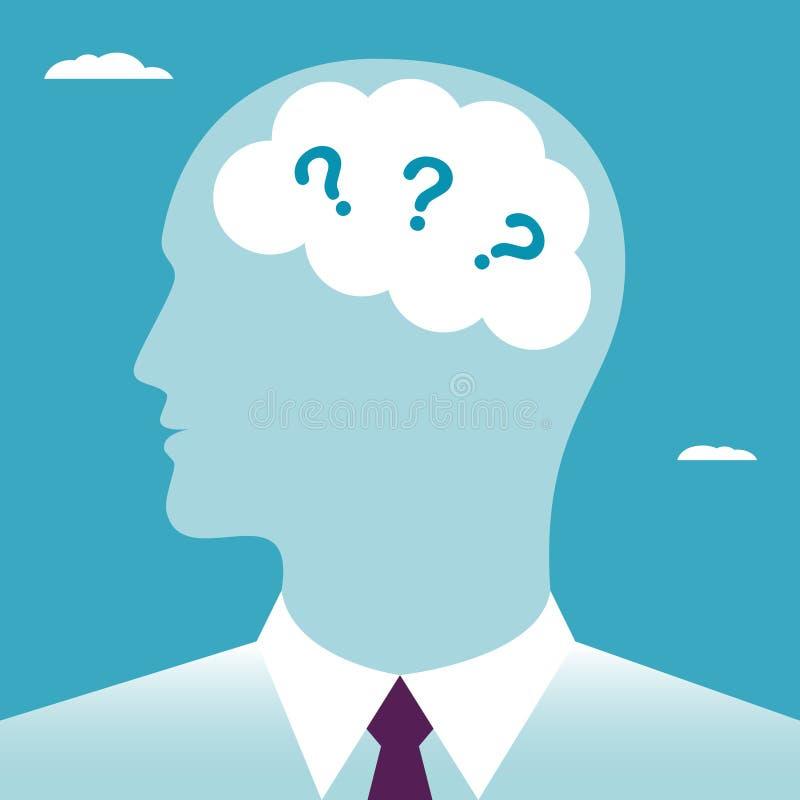 Perguntas na cabe?a ilustração royalty free