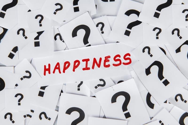 Perguntas na felicidade imagens de stock