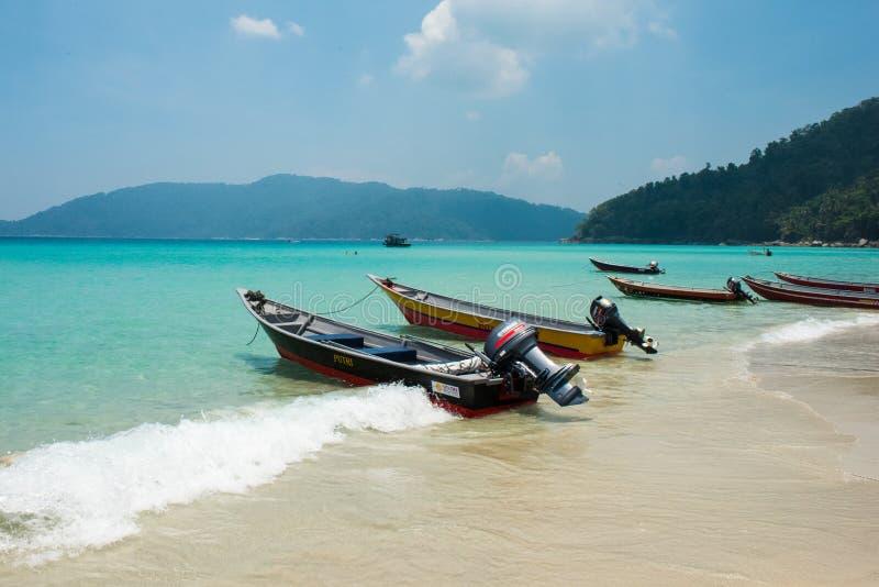 Perhentian Besar小船,马来西亚 库存图片