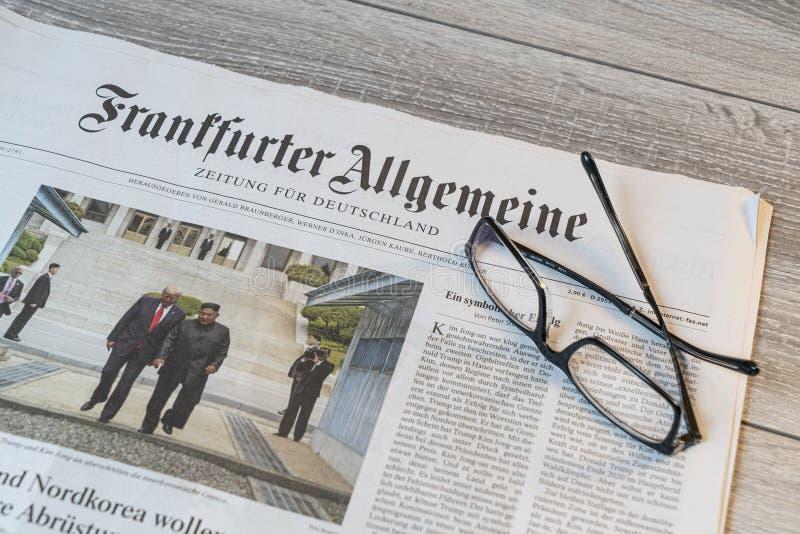 Periódico alemán del Frankfurter Allgemeine imagen de archivo libre de regalías