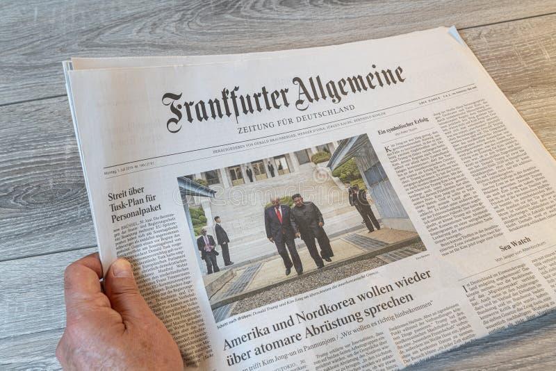 Periódico alemán del Frankfurter Allgemeine fotografía de archivo libre de regalías