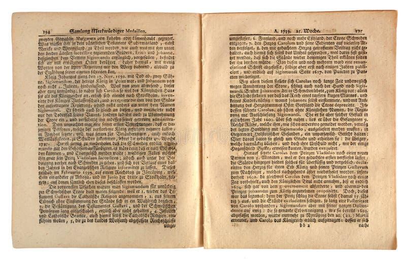 Periódico alemán viejo con fecha de 1739 foto de archivo
